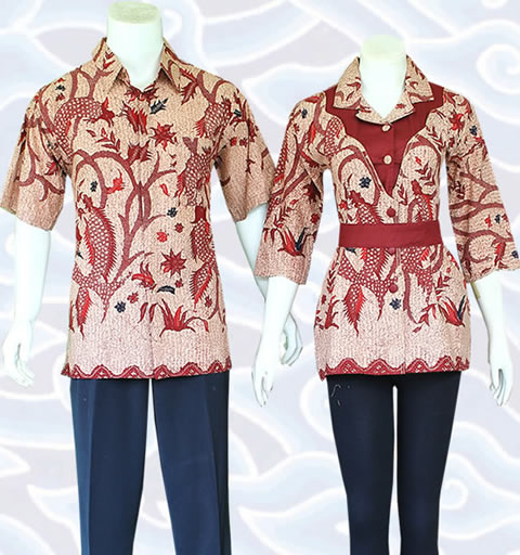10+ Model Baju Batik Couple Blouse Modern, Sarimbit Terbaru 2016